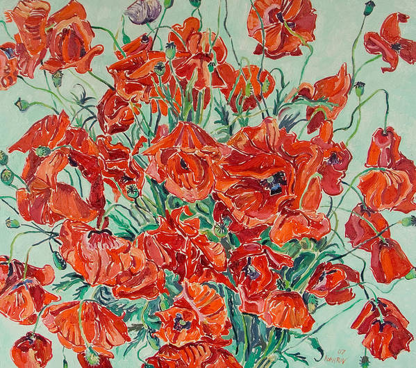 Bouquet Poster featuring the painting Bouquet Of Red Poppies With Soft-blue Background by Vitali Komarov