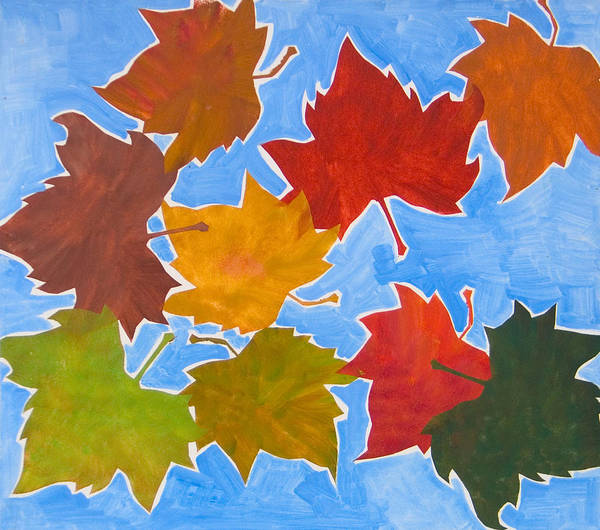 Leaf Poster featuring the painting Colorful Leaves by Vitali Komarov