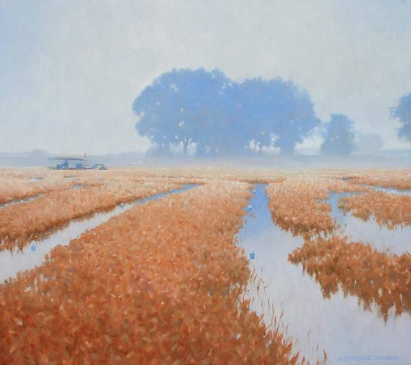 Farming Poster featuring the painting Crawfish In The Mist by Kevin Lawrence Leveque