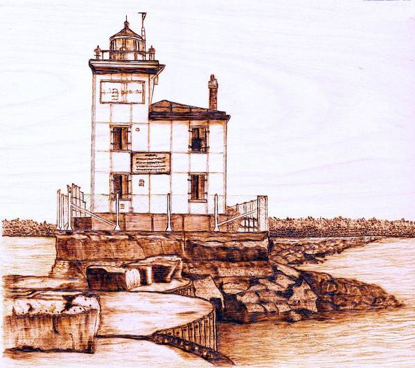 Lighthouse Poster featuring the pyrography Fair Port Harbor by Danette Smith