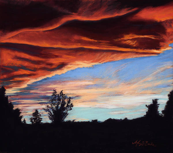 Sunset Poster featuring the painting Fire In The Sky by Mary Benke