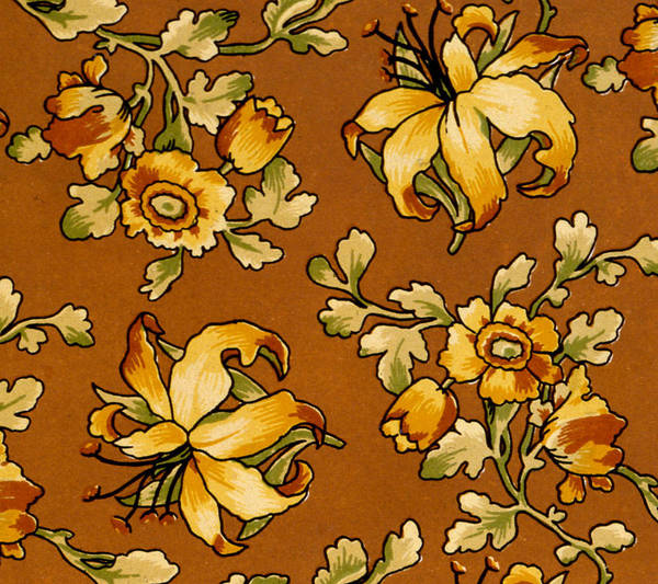 Floral Poster featuring the painting Floral Textile Design by English School