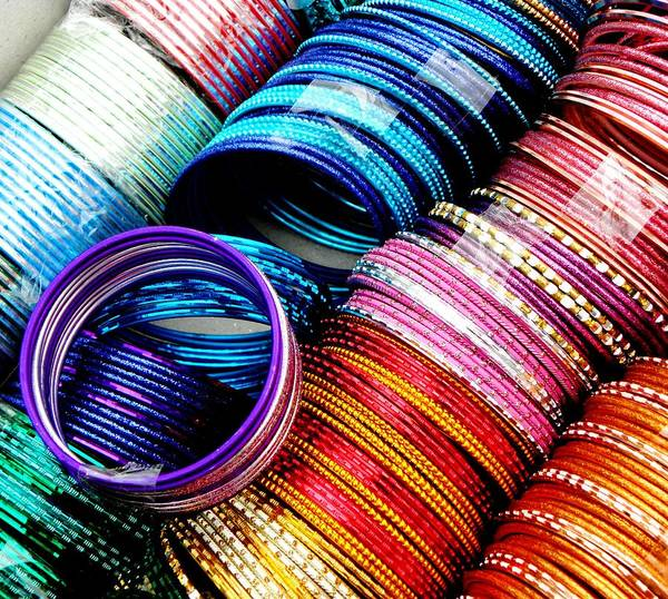 Color Poster featuring the photograph Indian Bangles by Elizabeth Hoskinson