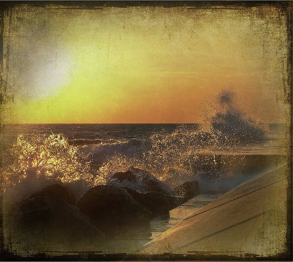 Lake Michigan Poster featuring the mixed media Lake Michigan Sunset by Maria Dryfhout