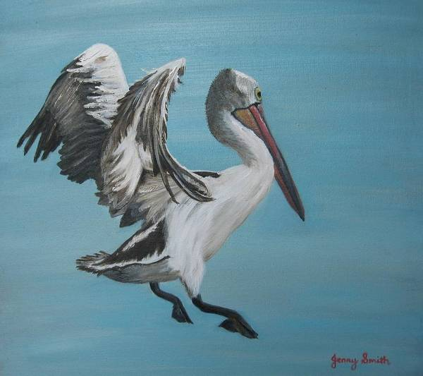 Pelican ; Birds Poster featuring the painting Landing Gear Activated by Jenny Smith