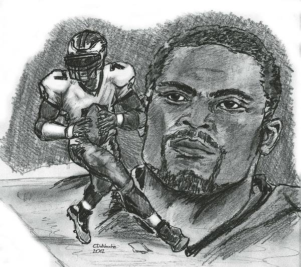 Nfl Poster featuring the drawing Michael Vick by Chris DelVecchio
