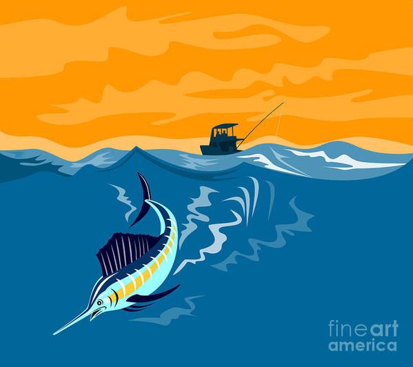 Fish Poster featuring the digital art Sailfish Fishing Boat by Aloysius Patrimonio