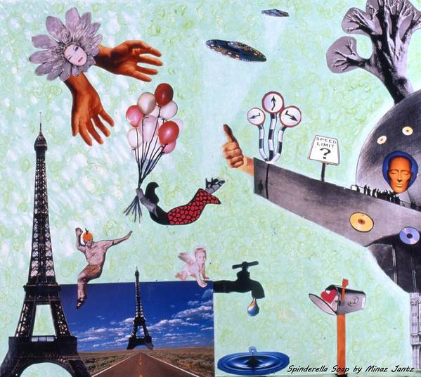 Eiffel Tower Poster featuring the drawing Soap Scene #27 Zelestial Headquarters by Minaz Jantz