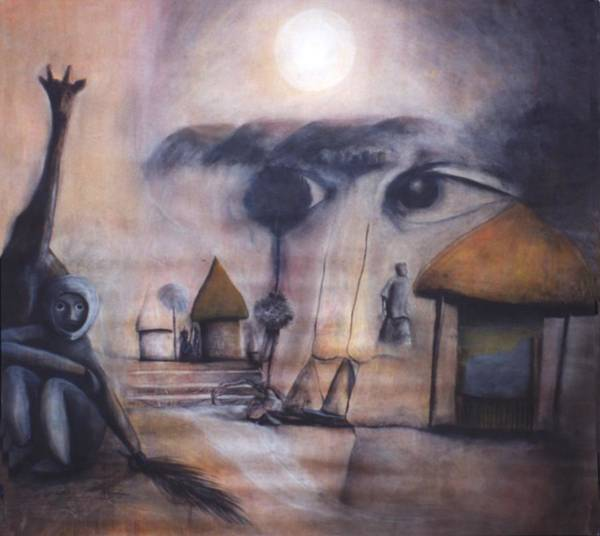 Africa Poster featuring the drawing Sunset In Afrika by Mushtaq Bhat