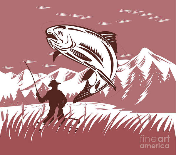 Fly Fisherman Poster featuring the digital art Trout Jumping Fisherman by Aloysius Patrimonio