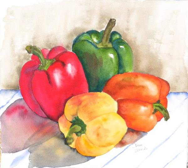Food Poster featuring the painting Two Peppers by Diane Ziemski