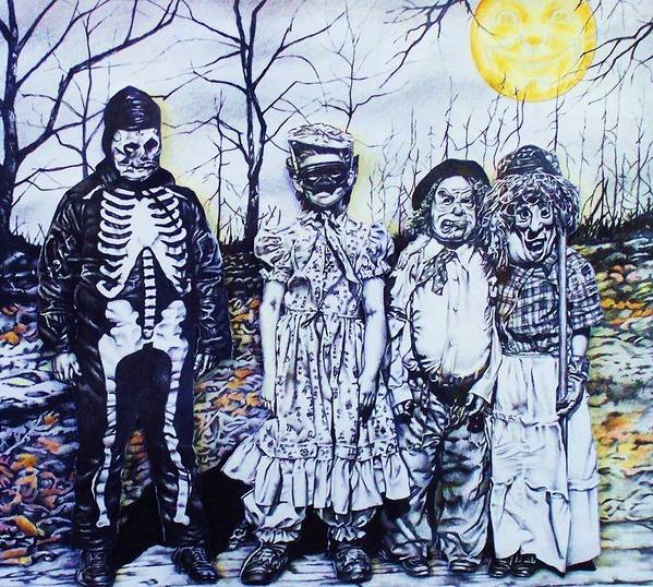 Halloween Poster featuring the mixed media Under A Halloween Moon by Michael Lee Summers