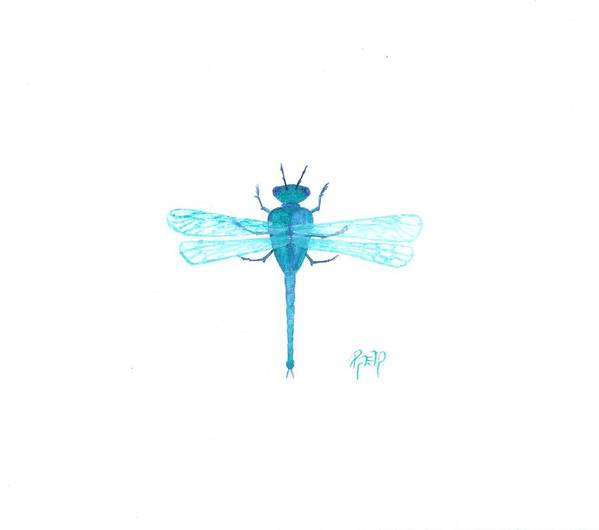 Sketch Poster featuring the painting Watercolor Sketch Dragonfly by Robert Meszaros