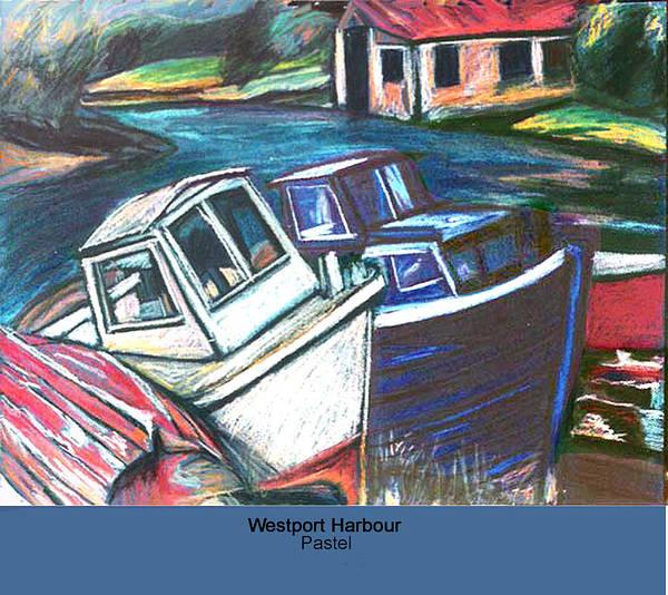 Pastel Poster featuring the pastel Westport Harbour by Ellen Lefrak
