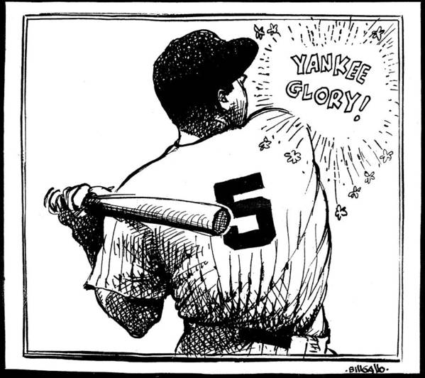 People Poster featuring the photograph Cartoon New York Yankees Joe Dimaggio 1 by New York Daily News Archive
