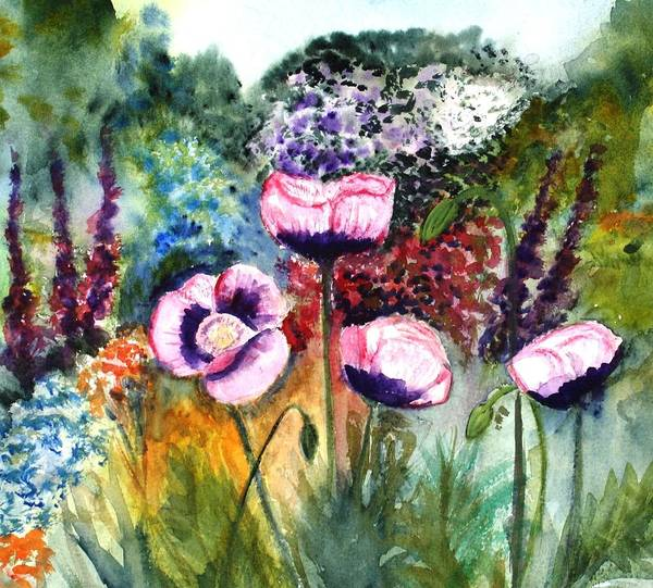 Monet's Garden Paintings Poster featuring the painting Monet's Garden by Donna Walsh