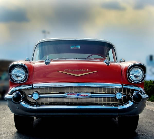 1957 Poster featuring the photograph 57 Chevy Full Frontal by Don Durante Jr