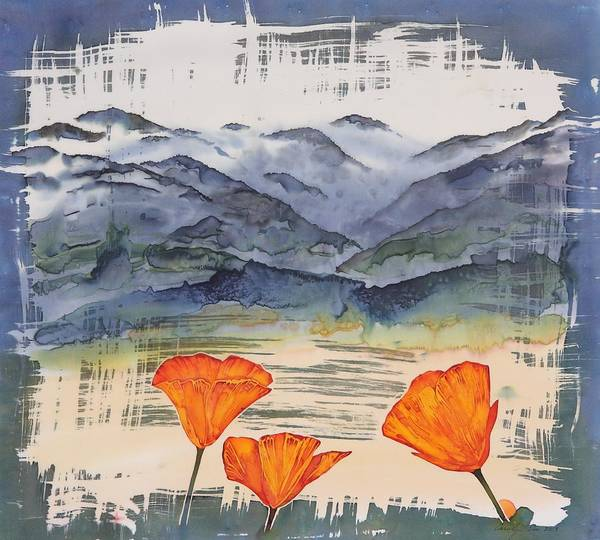 Poppies Poster featuring the tapestry - textile California Poppies by Carolyn Doe