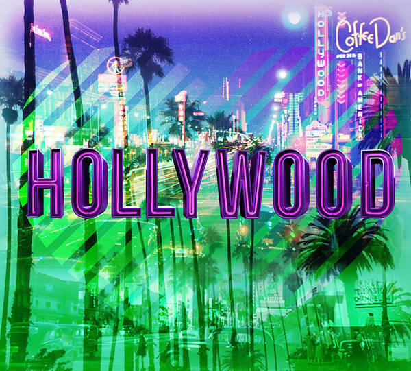 Hollywood Day And Night Poster by Gina Dsgn