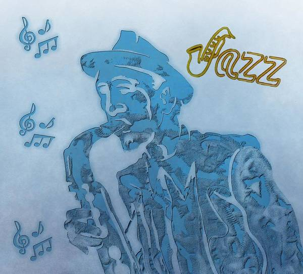 Jazz Saxophone Music Poster featuring the digital art Jazz Saxophone by Dan Sproul
