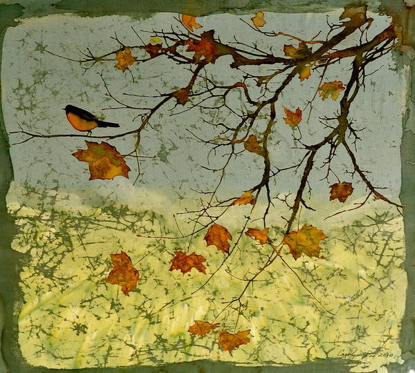 Robins Poster featuring the tapestry - textile Robin In Maple by Carolyn Doe