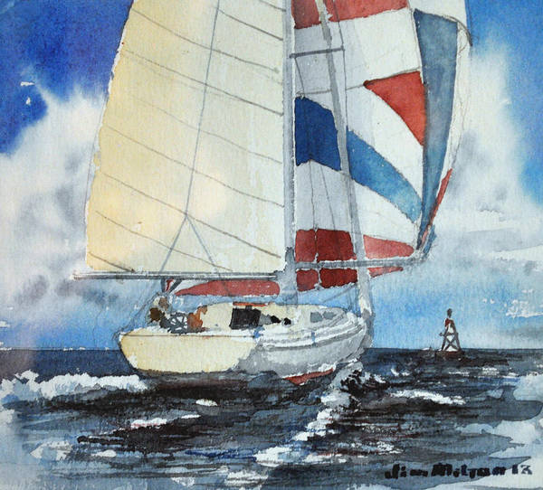 Boat Poster featuring the painting Spinnaker Set by Jim Melton
