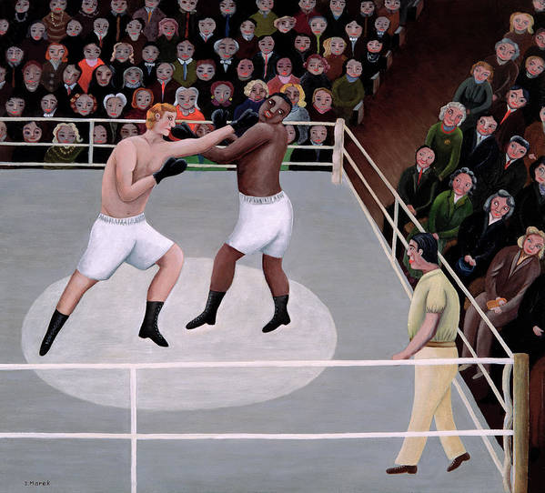 Spectator; Boxer; Ring; Punch; Referee Poster featuring the painting Title Fight by Jerzy Marek