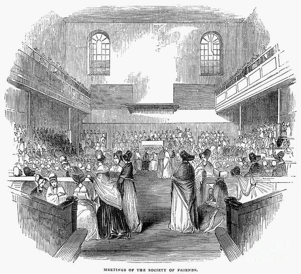1843 Poster featuring the photograph Quaker Meeting, 1843 by Granger