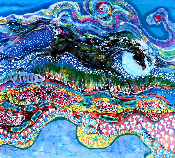 Horse Poster featuring the tapestry - textile Horse Born Of Moon Energy by Carol Law Conklin