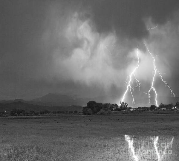 Awesome Poster featuring the photograph Lightning Striking Longs Peak Foothills 8cbw by James BO Insogna