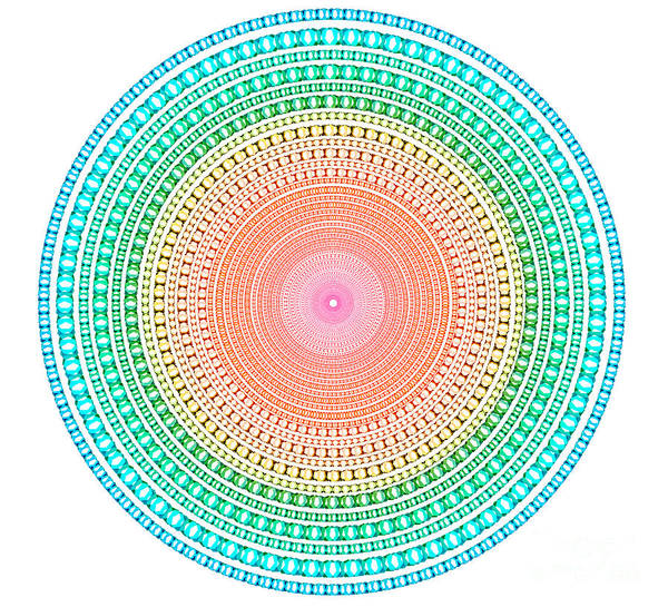 Abstract Poster featuring the digital art Multicolor Circle by Atiketta Sangasaeng