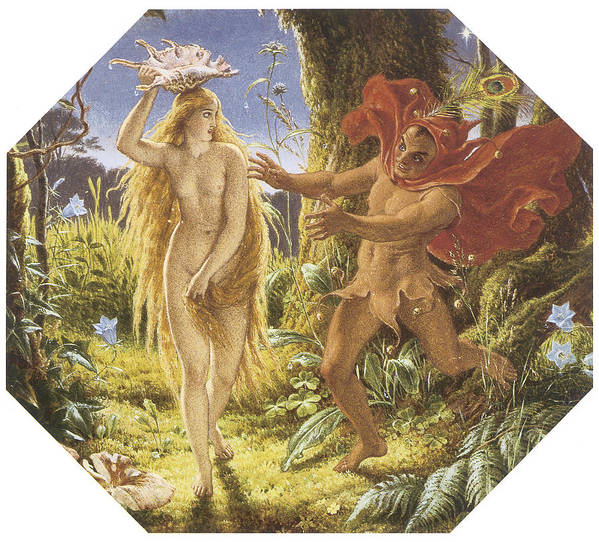 Joseph Noel Paton Poster featuring the painting Puck And The Fairy by Joseph Noel Paton