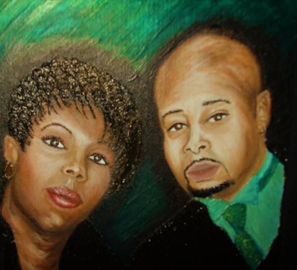 Acrylic Poster featuring the painting Lovers And Friends by Keenya Woods