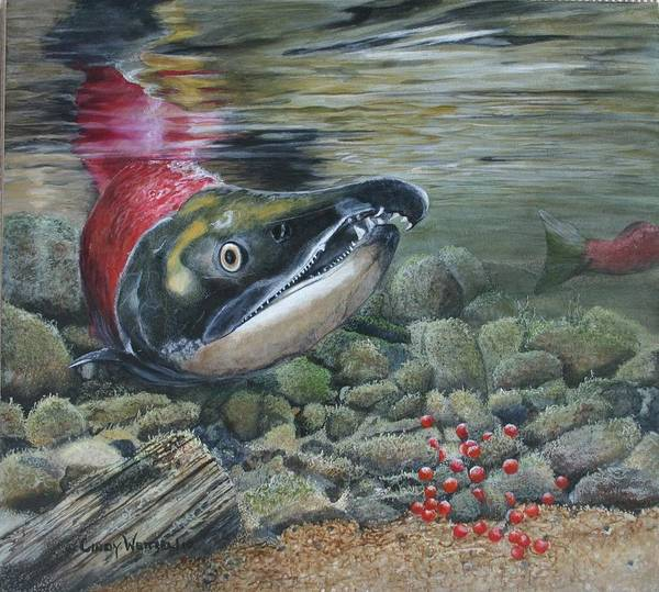 Fish Poster featuring the painting A Life Ends Another Begins by Cindy Weitzel