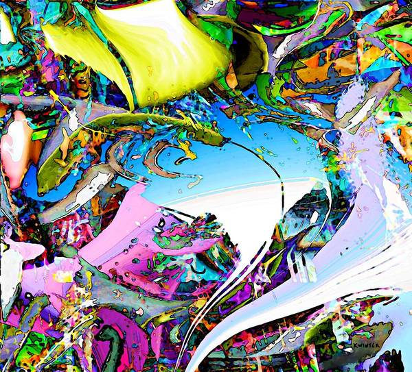 Abstract Poster featuring the digital art Beach by Dave Kwinter