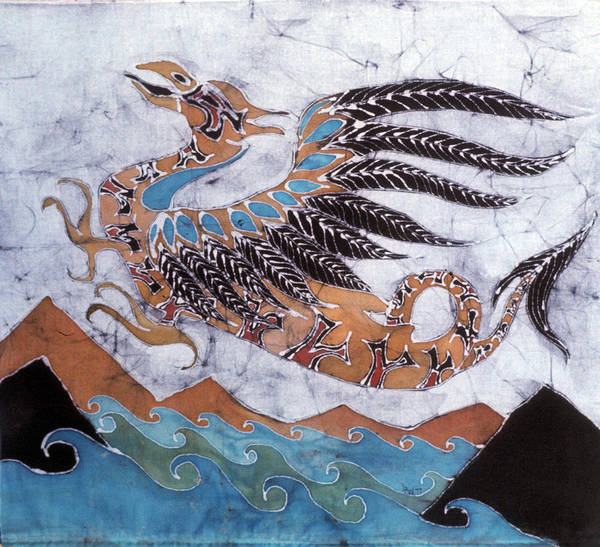 Dragon Poster featuring the tapestry - textile Beaked Dragon Flies Above The Sea by Carol Law Conklin