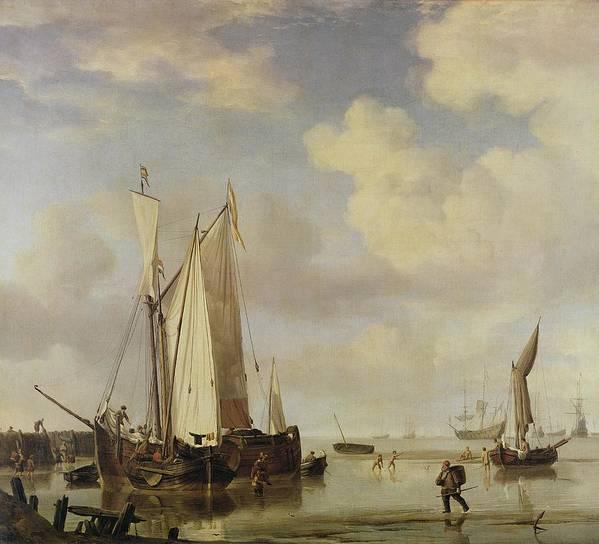 Dutch Poster featuring the painting Dutch Vessels Inshore And Men Bathing by Willem van de Velde