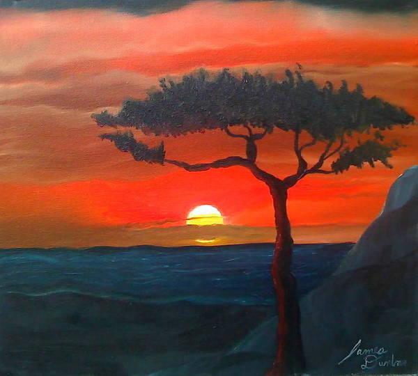 Africa! Poster featuring the painting East African Sunset by Portland Art Creations