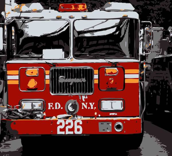 New-york-gallery-print New York City New-york New-york-photograph Poster featuring the photograph Fire Truck Color 6 by Scott Kelley