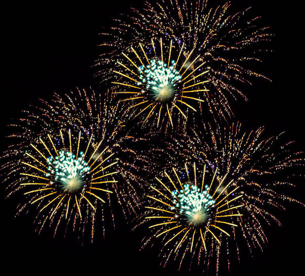 Black Brook Shop Poster featuring the photograph Fireworks - Yellow Spirals by Black Brook Photography