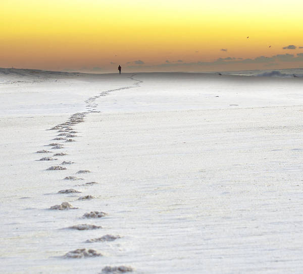 Sunrise Poster featuring the photograph Footprints To Sunrise by Vicki Jauron
