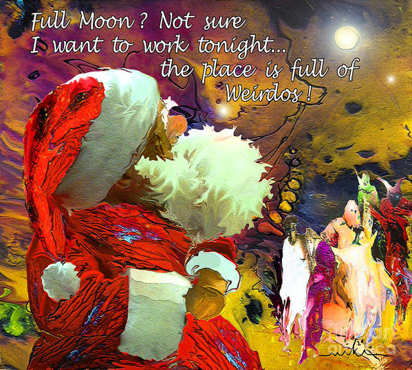 Fantasy Painting Poster featuring the painting Full Moon by Miki De Goodaboom