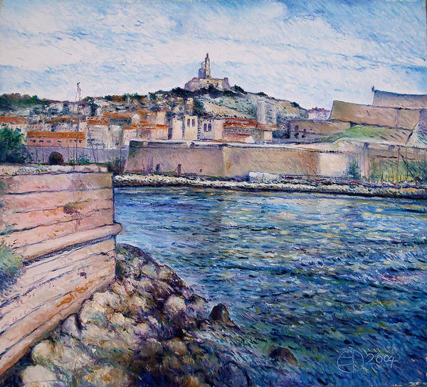 Marseilles France Poster featuring the painting Marseille Pierre Plats Provence France Cm 2004 by Enver Larney