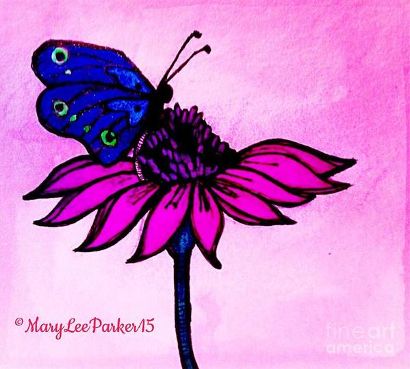 Pen  Poster featuring the mixed media Pink Day by MaryLee Parker