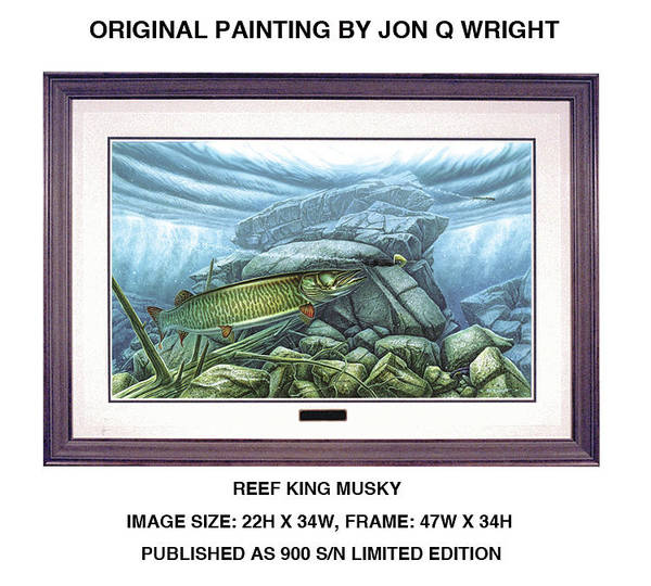 Jon Q Wright Poster featuring the painting Reef King Musky by JQ Licensing