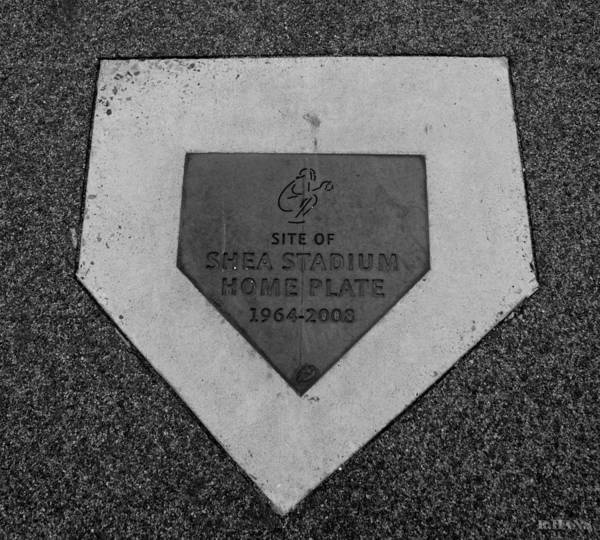 Shea Stadium Poster featuring the photograph Shea Stadium Home Plate In Black And White by Rob Hans