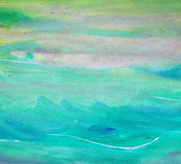 Abstract Poster featuring the painting Surfing--waiting For The Perfect Wave by Judith Redman