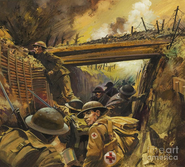 Soldier Poster featuring the painting The Trenches by Andrew Howat