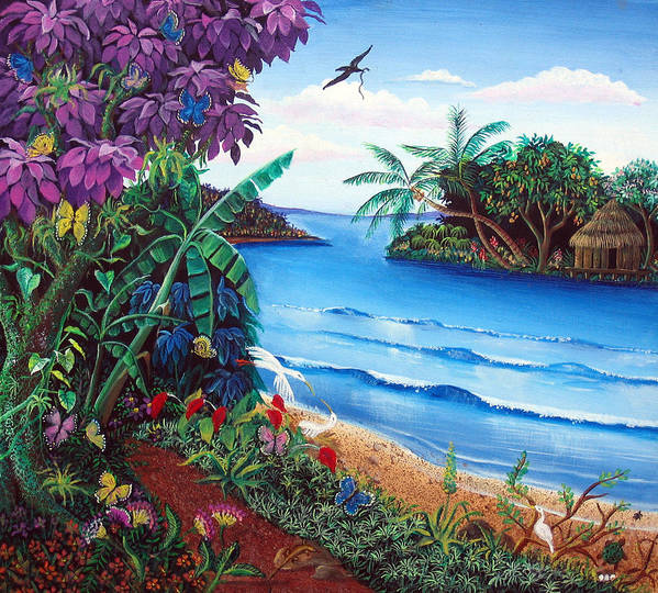 Nicaraguan Primitive Painting Style Poster featuring the painting Tropical Paradise by Sarah Hornsby