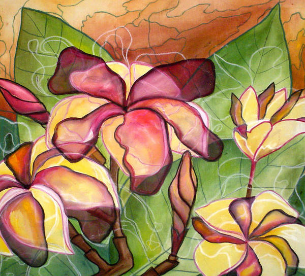 Plumeria Poster featuring the painting Vivian's Plumeria by Kimberly Kirk